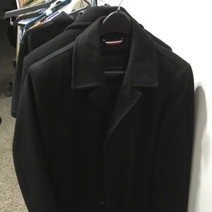 Tommy Hilfiger Men's Black Medium Overcoat